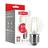 LED лампа MAXUS (филамент), G45, 4W, мягкий свет,E27 (1-LED-545) (NEW)