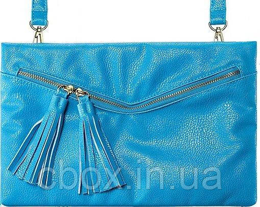Річна бірюзова сумочка - клатч через плече 57674