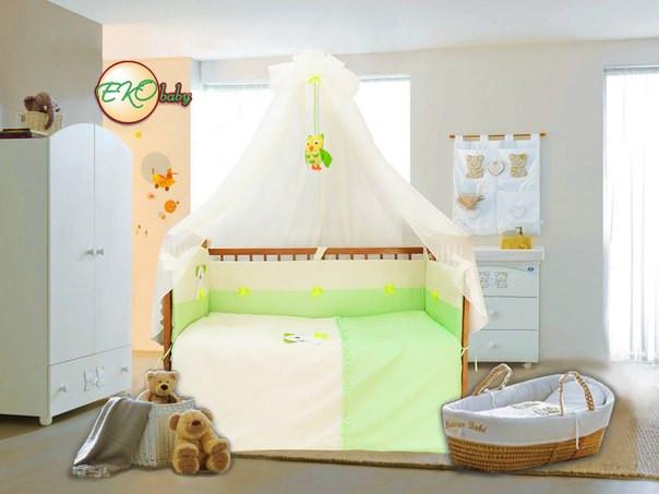 Детский постельный комплект «Совушка/Тигрик» (Салатовый, 7 элементов), EkoBaby