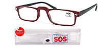 Очки для чтения «SOS» (унисекс), цвет Mat Red-Black, с футляром.