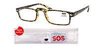 Очки для чтения «SOS» (унисекс), цвет Mat Yellow pattern, с футляром.
