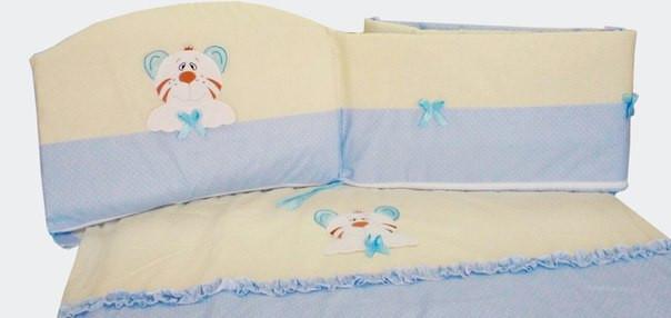 Детский постельный комплект «Совушка/Тигрик» (Голубой, 7 элементов), EkoBaby