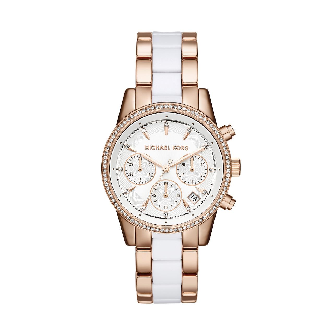 Часы Michael Kors Ritz Chronograph Rose Gold-tone White Acetate MK6324