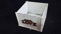 Ящик-кашпо из фанеры белого цвета 13х13х9 см 125/95 (цена за 1 шт. + 30 гр.)