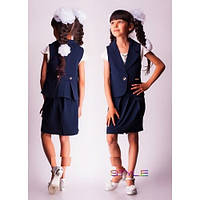 Школьный костюм двойка для девочки: жилет + юбка