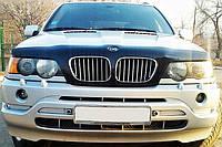 Дефлектор на капот (мухобойки) BMW Х5 (Е53) 2000-2004 /с облиц.радиат и вырез под знак