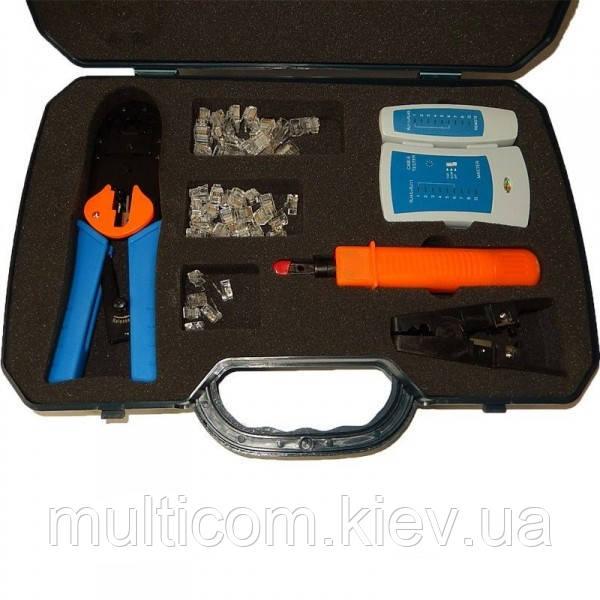 12-09-403. Набор инструментов для обжима (RJ45,12,11) обжимка + тестер + забивка, в пластиовом боксе