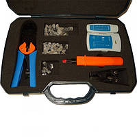 12-0398. Набор инструментов ун-я обжимка (RJ45,12,11)+тестер+съёмн. в пласт.коробке
