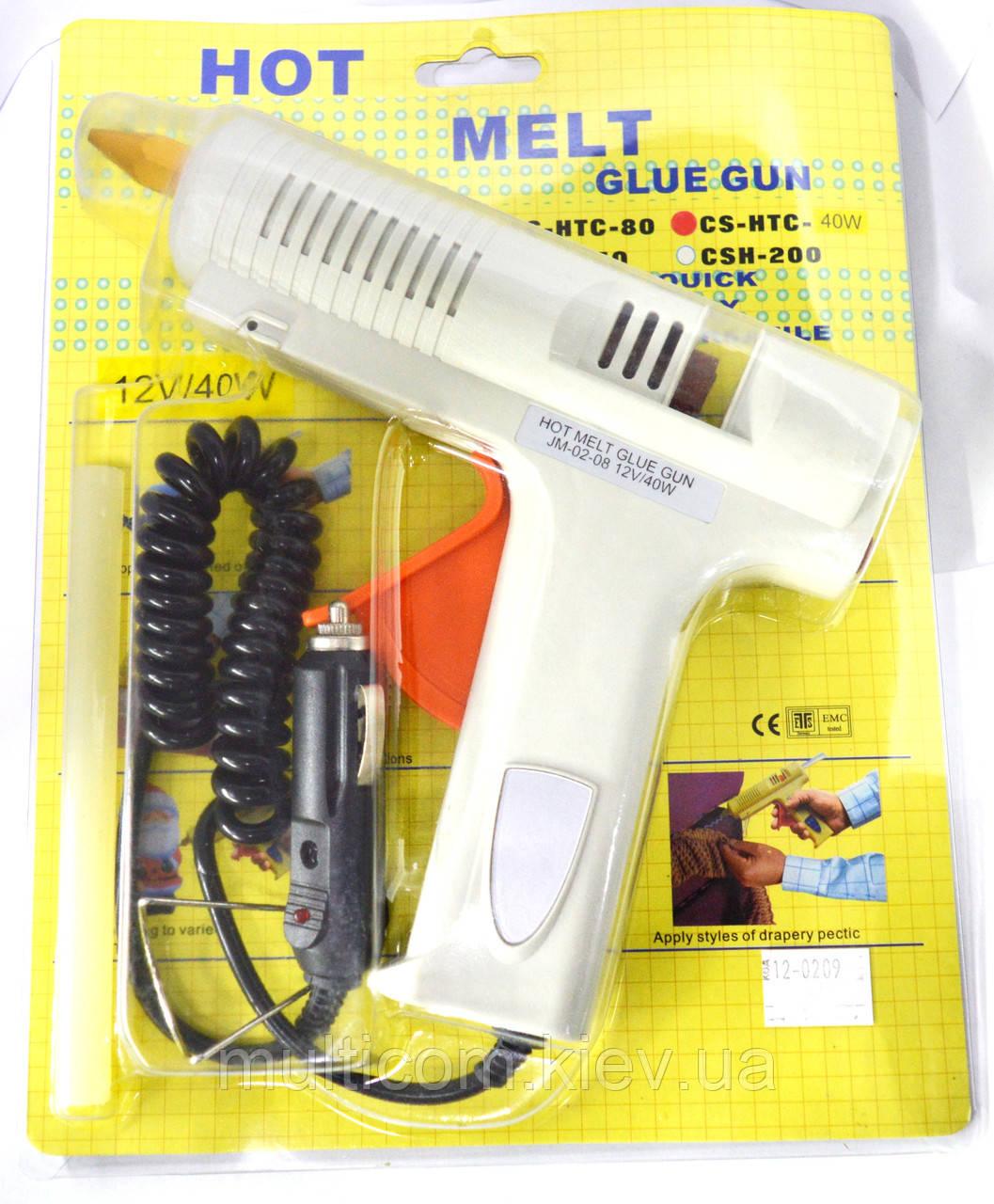 12-00-036. Пистолет клеевой 40W, под клей 11мм, в блистере, серый, питание от прикуривателя, CS-HTS