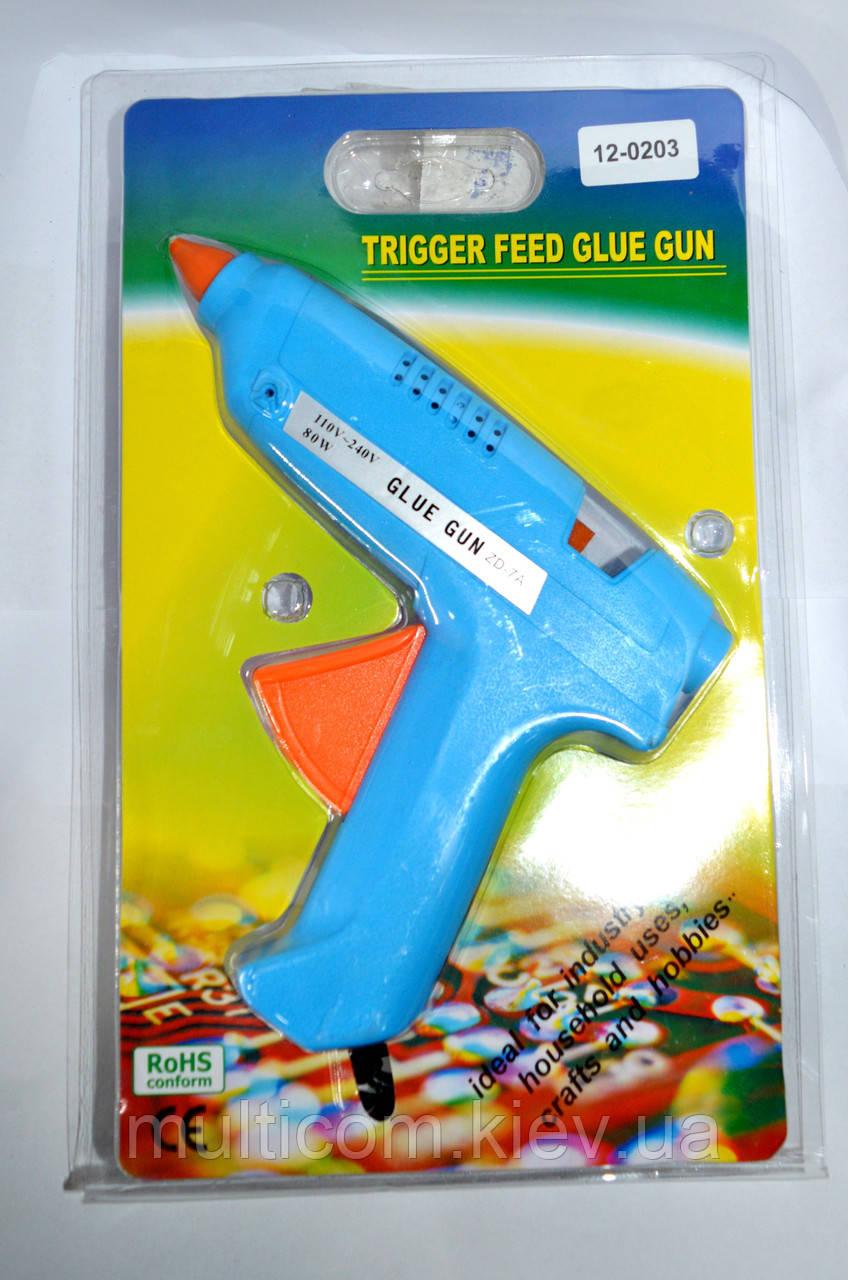 12-00-051. Пистолет клеевой 80W, под клей 11мм, в блистере, синий, ZD-7A