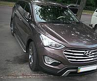 """Боковые пороги, площадка, подножки """"Premium'' Hyundai Santa Fe 2013+ нержавейка"""