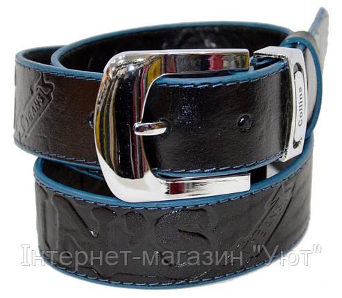 Ремень мужской классический, с классической пряжкой,черный с синей оправой по краям, фото 2