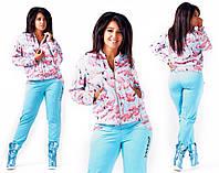 """Женский стильный спортивный костюм в больших размерах 432 """"Фламинго"""""""