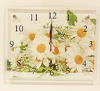 Часы настенные картина 20Х25 ромашки