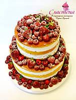 """Лучший свадебный  торт  """"Naked cake"""" с ягодами"""