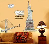 """Наклейка на стену, наклейки в офис, в детскую, в школу """"статуя Свободы Statue of Liberty """" 110*100см(60*90см)"""