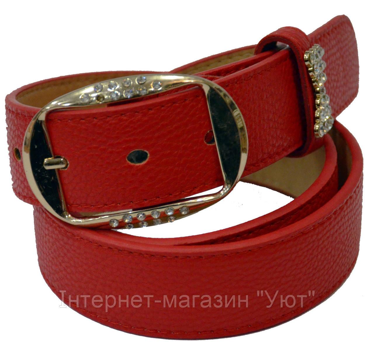 Женский ремень с пряжкой в стразах часы красный кожаный ремень