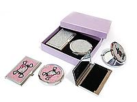Подарочный набор зеркальце + визитница Стразы