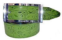 Ремень женский классический с цветами, классическая пряжка, зеленый