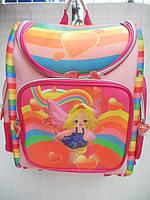 Детский школьный рюкзак розовый ранец портфель недорого плотный текстиль оптом 7 км Г1575/2434