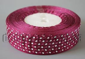 Лента органза фиолетово-бордовая с горохом 2,5 см 50ярд