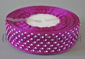 Лента органза фиолетовая с горохом 2,5 см 50ярд