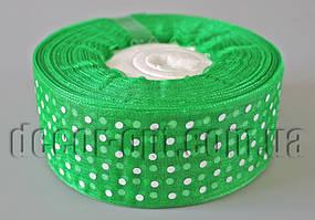 Лента органза с горохом зеленая 4 см 50ярд