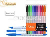 Набор шариковых ручек с цветным прозрачным фигурным корпусом и рельефным держателем