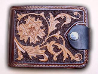 Авторский кожаный кошелек женский мужской портмоне ручной работы Сова птица Грифон Лев Орел Цветы.
