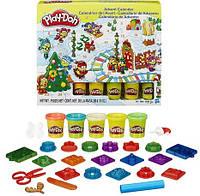 Play Doh Подарочный Новогодний набор Адвент Календарь 24 предмета и тесто Плей До для лепки, Оригинал из США