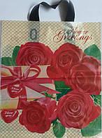 Пакеты с петлевой ручкой 35*30 красные розы  Днепр
