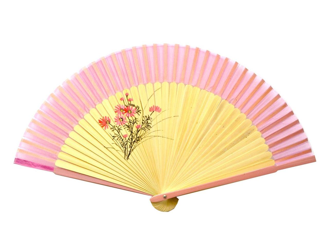 Веер женский бамбук с шелком