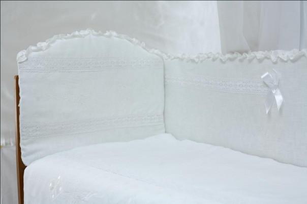 Детский постельный комплект «Эко-лен вышиванка» (Белый, 6 элементов), EkoBaby