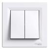 Выключатель 2-клавишный SCHNEIDER Asfora белый EPH0300121