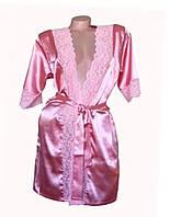Атласный халат персикового цвета с кружевными вставками Серенада(Serenade)2101