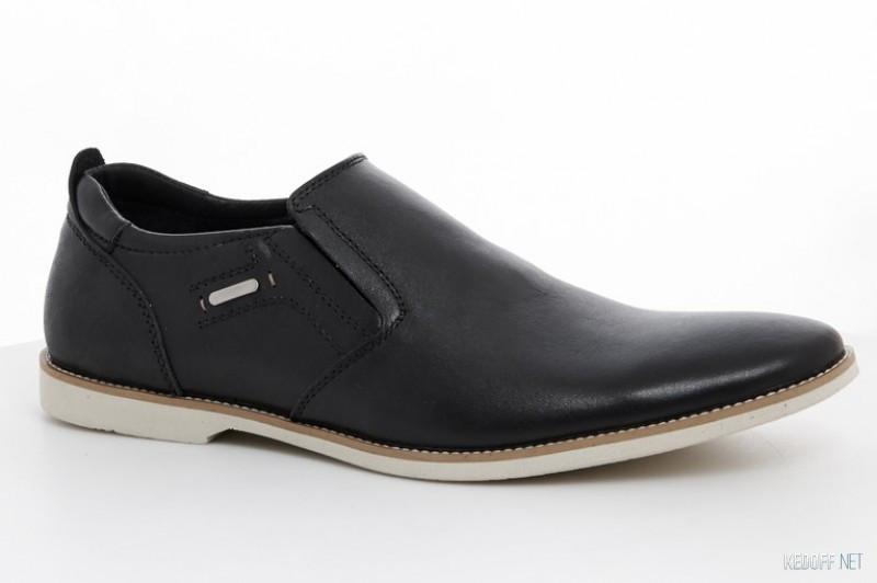 Чоловічі чорні шкіряні класичні туфлі на резинці на білій підошві Affinity бж знижка