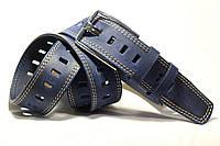 Синий перфорированный кожаный ремень