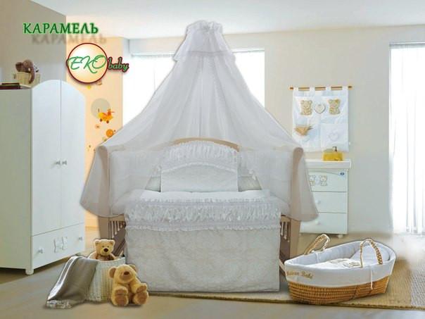 Детский постельный комплект «Карамель» (Белый, 7 элементов), EkoBaby