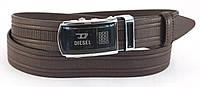 Классический  коричневый стильный кожаный мужской ремень с пряжкой автомат
