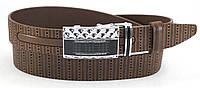 Классический кожаный мужской ремень с оригинальной пряжкой автомат без трещетки (100517)