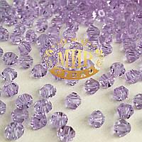 Бусины биконусы премиум Lt Purple 4mm (1шт)