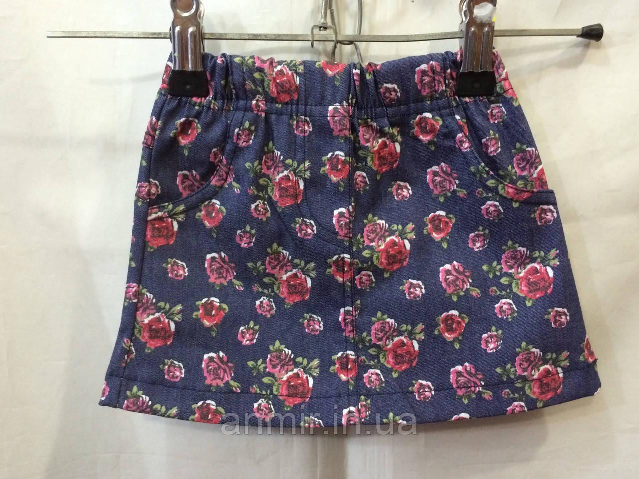 Детская коттоновая юбка Розочки для девочки 2-6 лет,темно синяя, фото 1