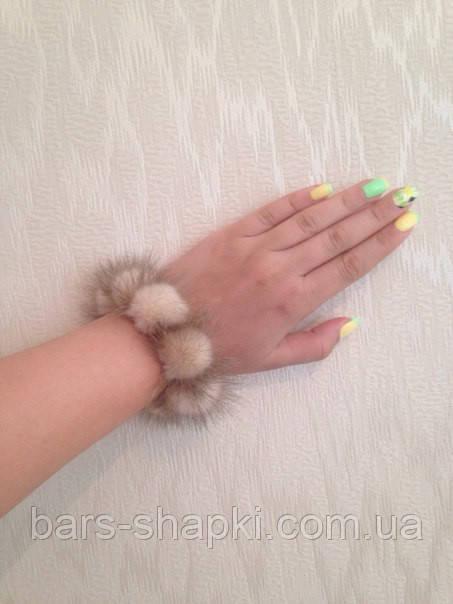 Норковый браслет,  резинка  для волос, цвет Колотый лёд