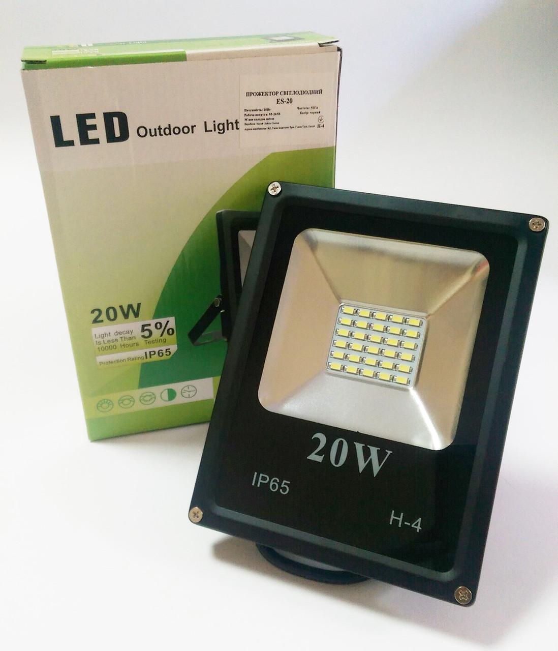 Светодиодный прожектор 20W ECO серия ES-20-01 6400K 1100Lm SMD