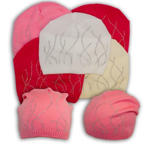 Вязаная шапка для девочки с камнями