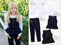 Школьная форма блуза , атласная, длинный рукав, ворот из бисера и жемчуга 1313 MONE.Размер: 152 см.10-12 лет