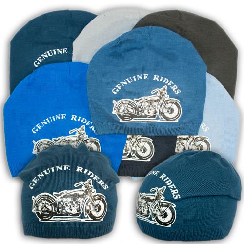 """Вязаная шапка для мальчика с принтом """"Genuine Riders"""", V119"""