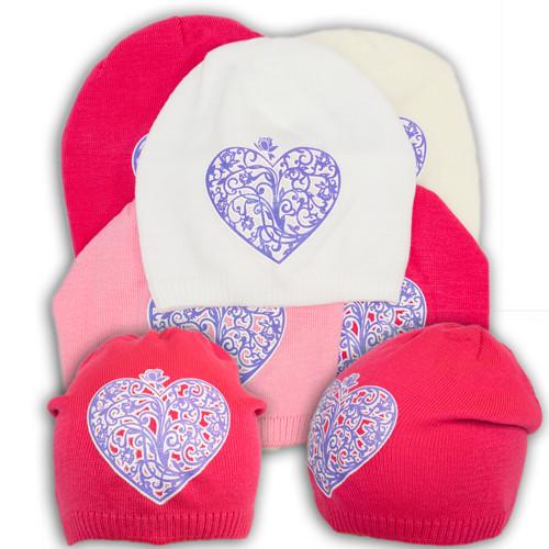 """Вязаная шапка для девочки с принтом """"Серце"""""""