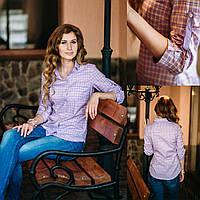 Рубашка женская в клетку из 100% хлопка. Рукав 3/4,  полуприталенная. Разм. XS , S , M , L ,XL , XXL .Davanti.