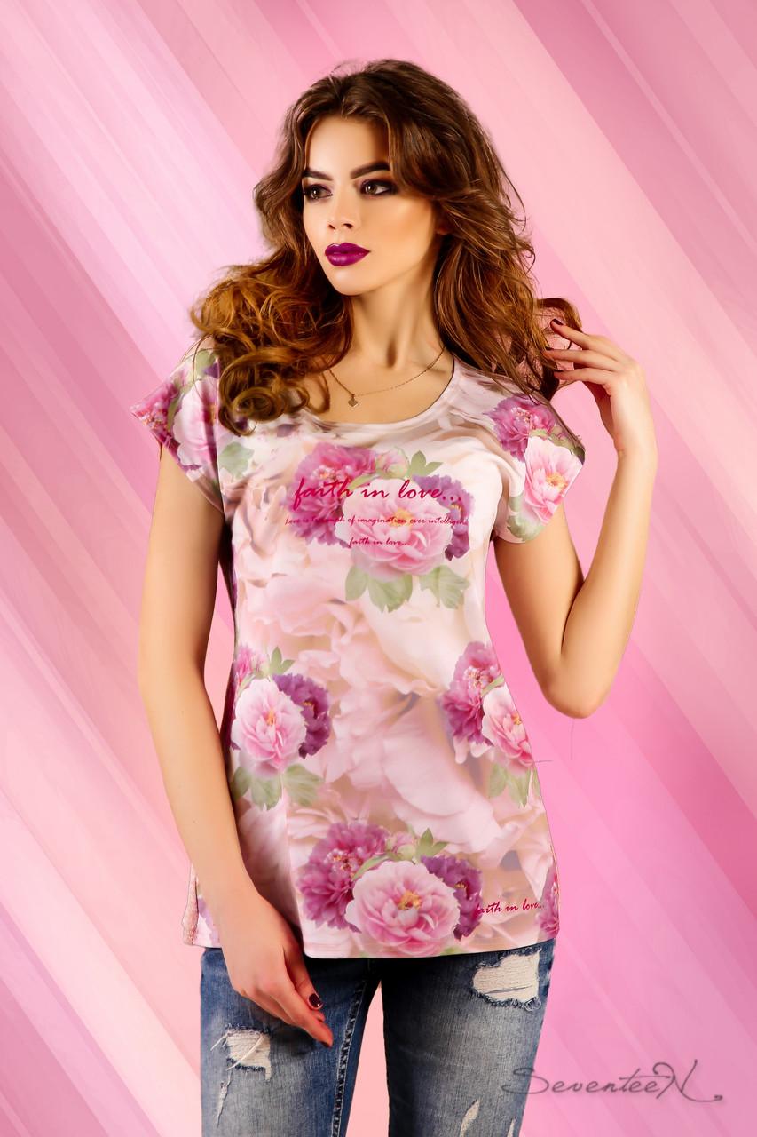 Красивая женская футболка с цветочным принтом и оригинальной спинкой 42-52 размеры, фото 1